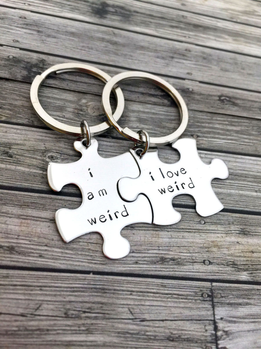 I am weird, I love Weird, Couples Keychains - product image
