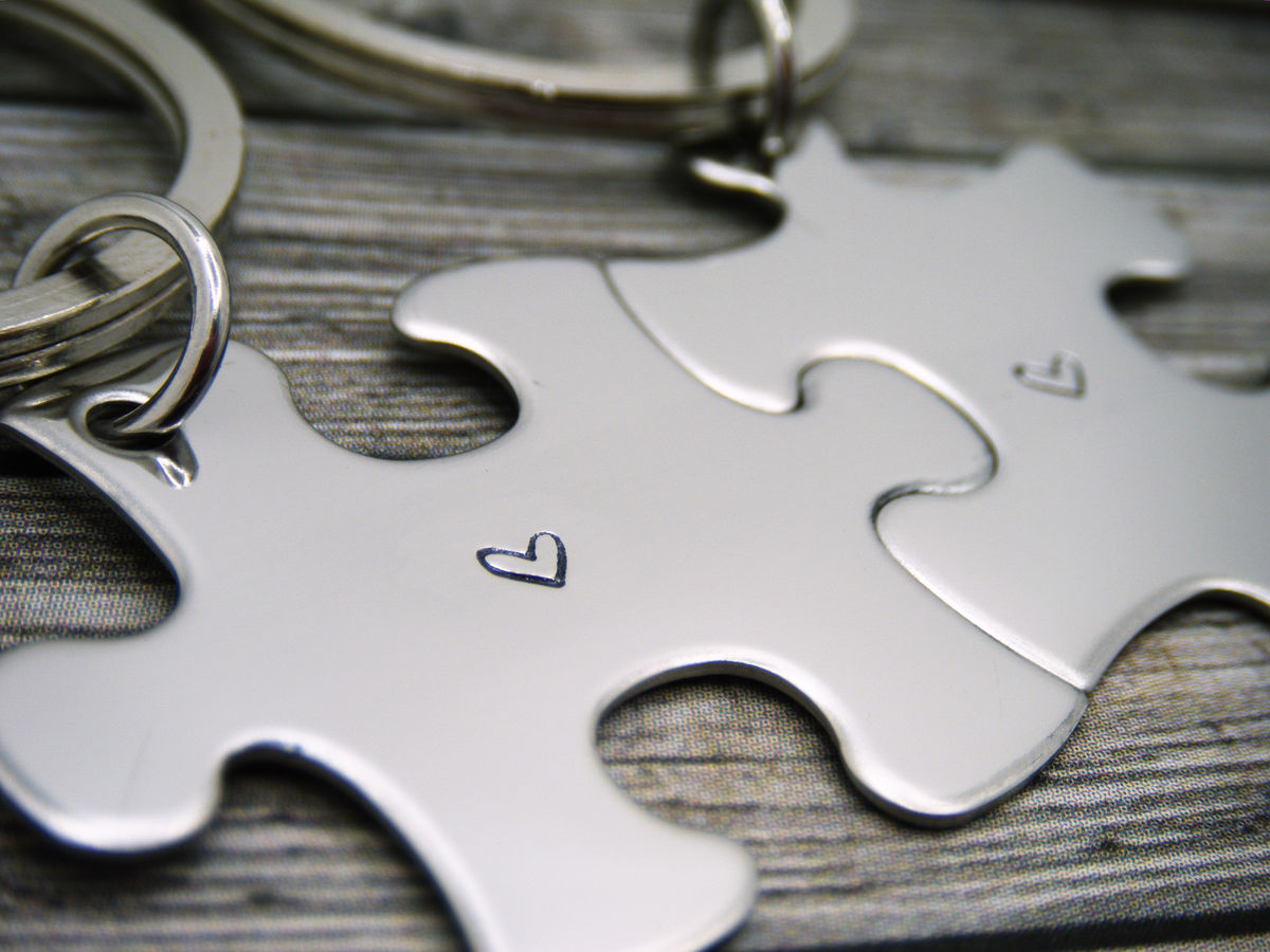 Heart Puzzle Keychains, couples keychains - product images  of