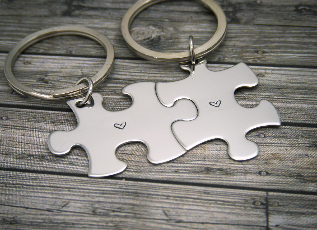 Heart Puzzle Keychains, couples keychains