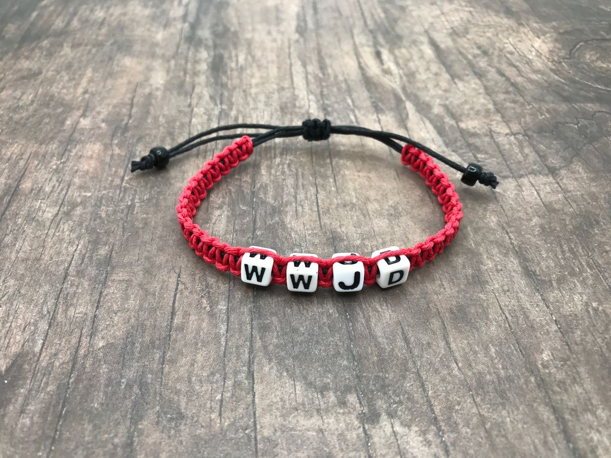 Hemp Bracelet, WWJD hemp bracelet, Red Bracelet - product images  of