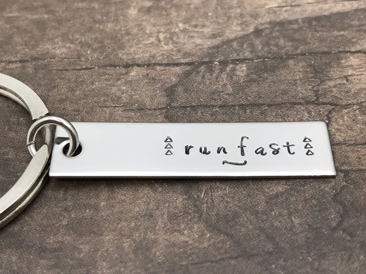 Run fast keychain, running keychain, running gift, motivational gift - product images  of