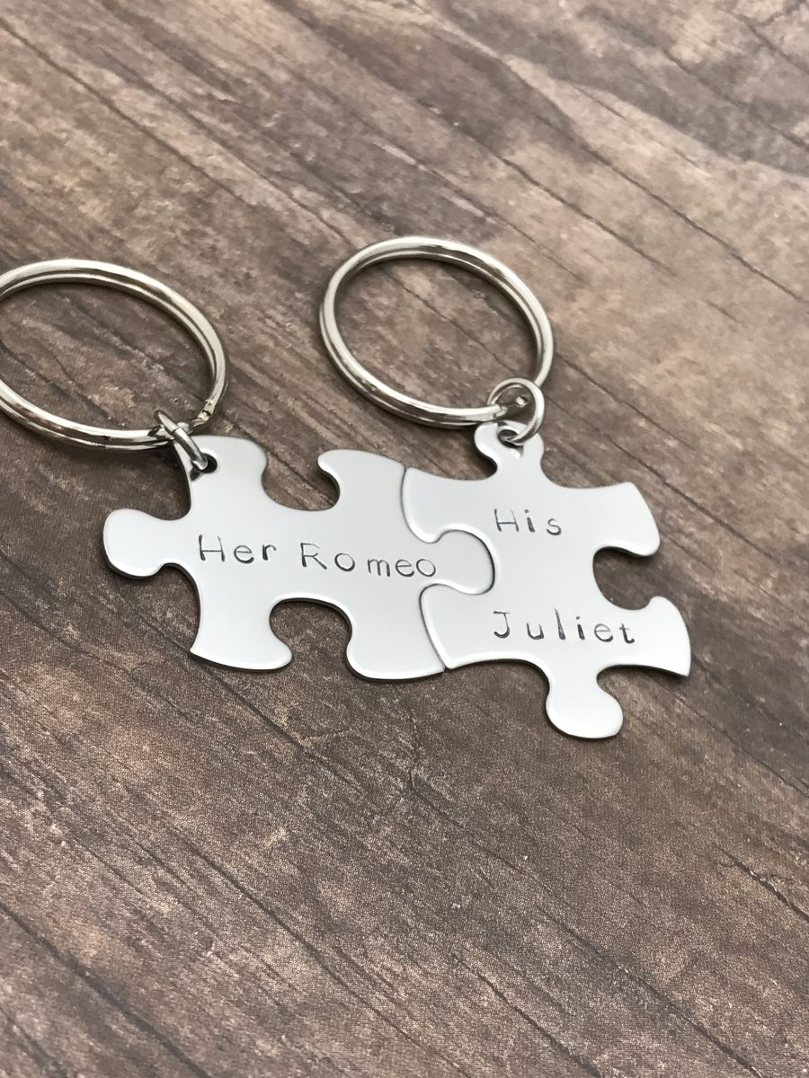Her Romeo His Juliet Puzzle Piece Keychains - product image
