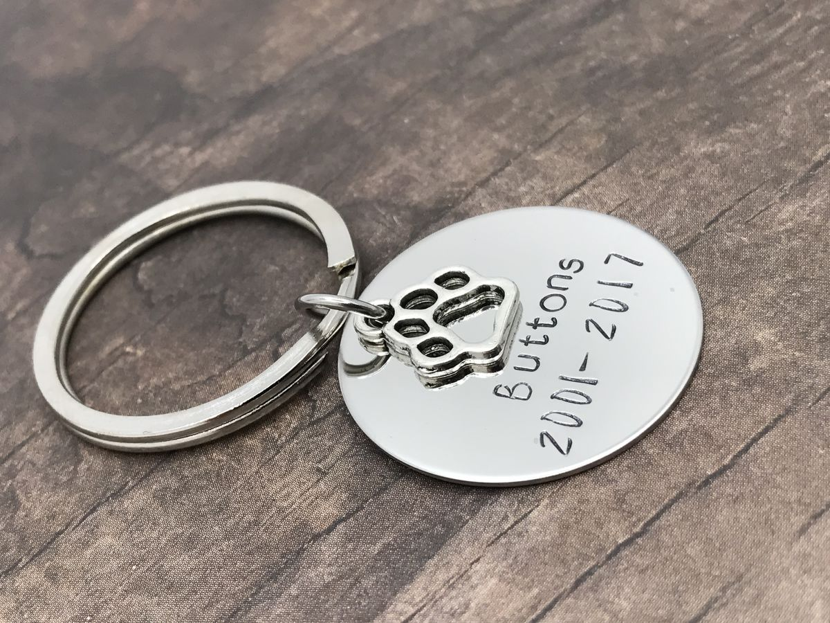 Buttons Keychain, Pet Memorial keychain, Cat Keychain, Pet Remembrance Keychain - product images  of