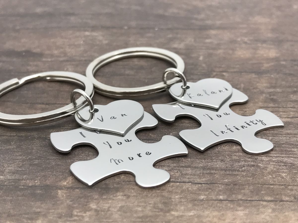 bd3c931fab ... Custom Puzzle Piece Heart Charm Keychains, I love you more I love you  infinity couples ...