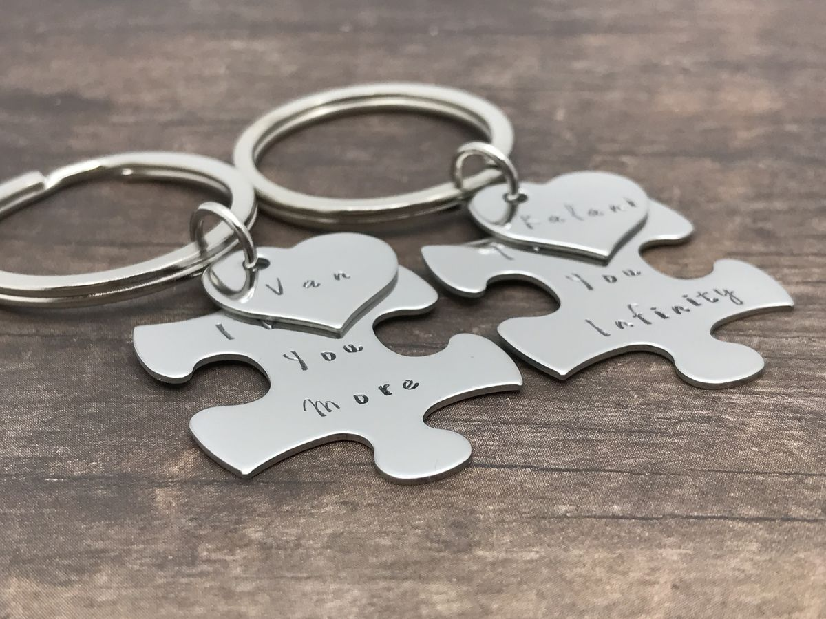Custom Puzzle Piece Heart Charm Keychains, I love you more I love you infinity couples keychains - product images  of