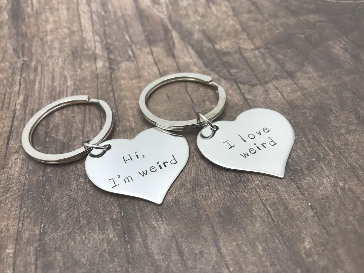 a58bbc37bf Hi, I am weird, Hi, I Love Weird, Couples Keychains, lgbt gift ...