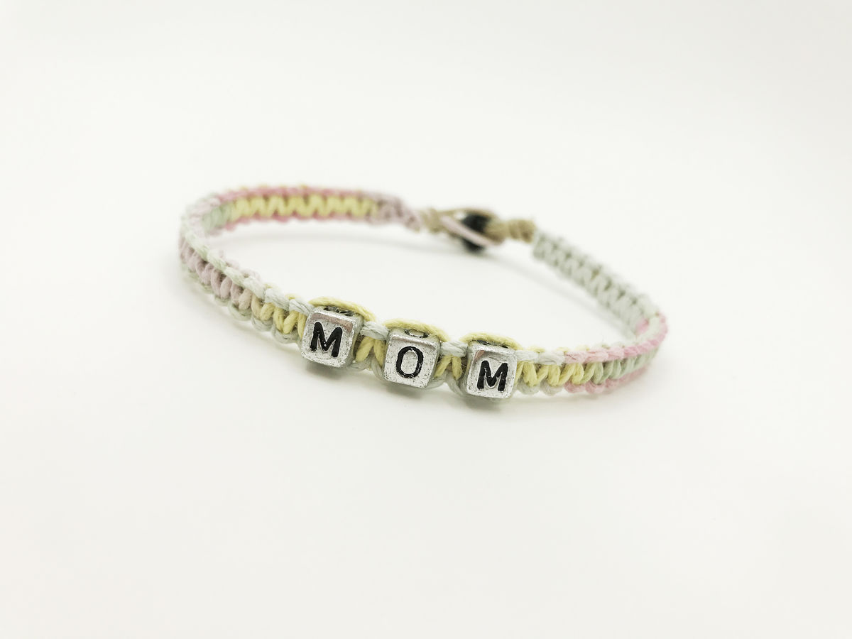 Mom Bracelet, Mothers Day Gift, pastel hemp bracelet - product images  of