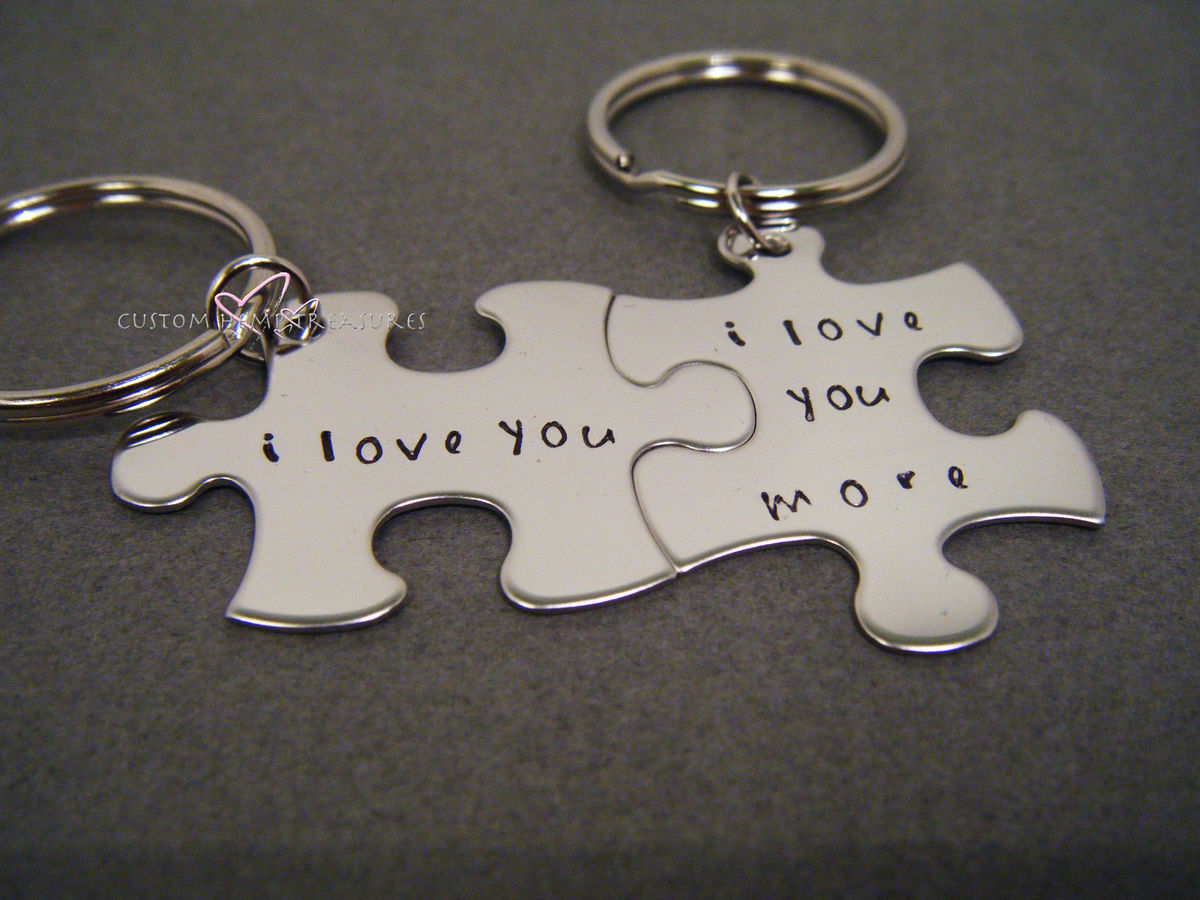 I Love you I love you more keychains, Couples Keychain Set - product images  of