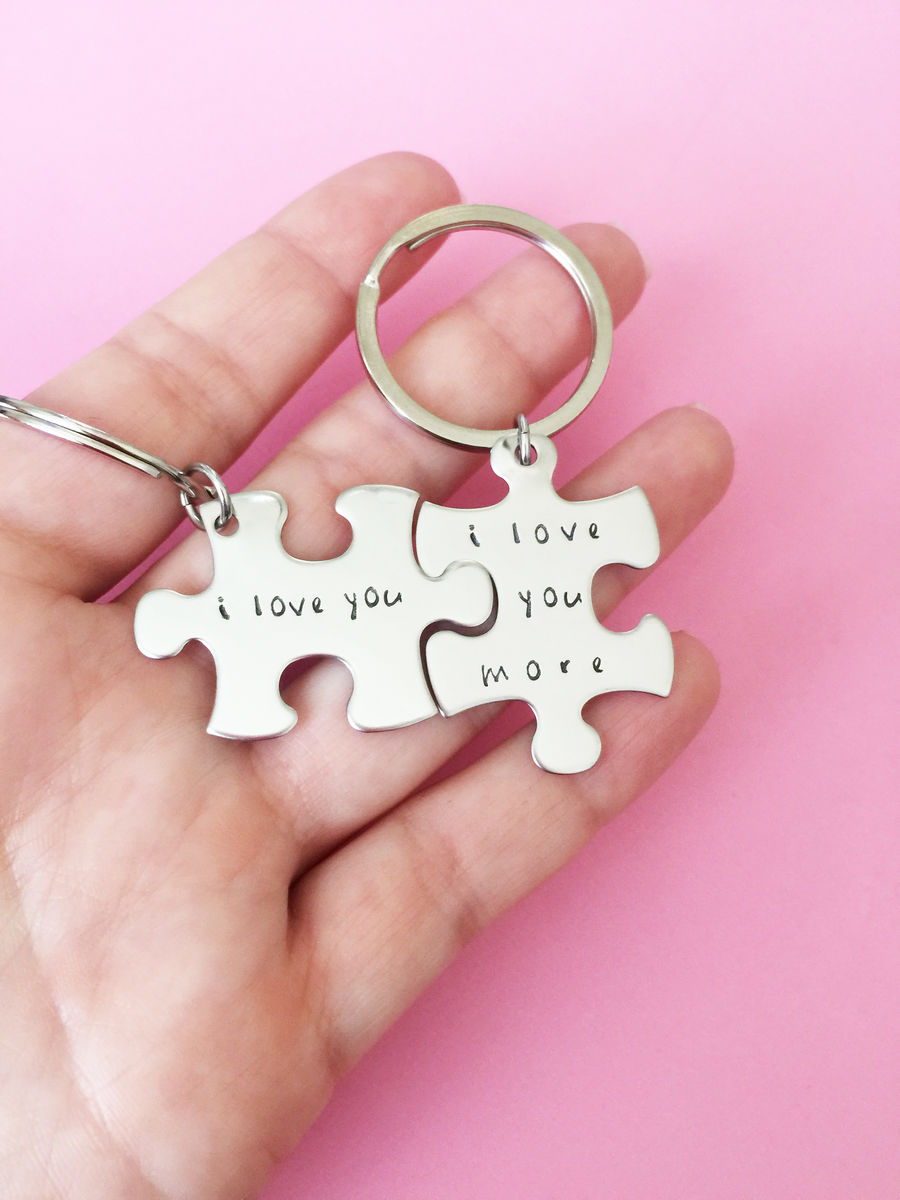 I Love you I love you more keychains, Couples Keychain Set - product image