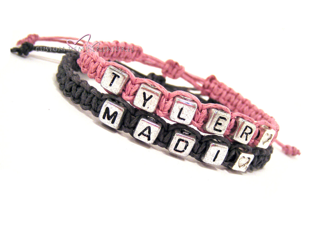 Adjustable Name Bracelets with Heart Beads, Couples Bracelets, Personalized Name Bracelets for Couples - product image