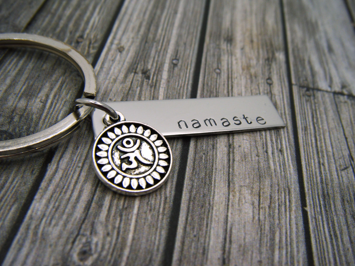 Namaste Keychain Bar keychain with lotus charm, yoga gift - product image