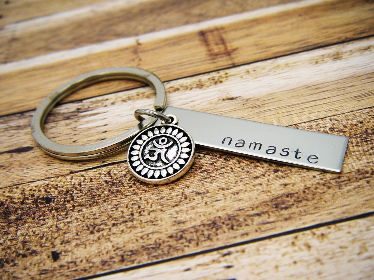Namaste Keychain Bar keychain with lotus charm, yoga gift - product images  of