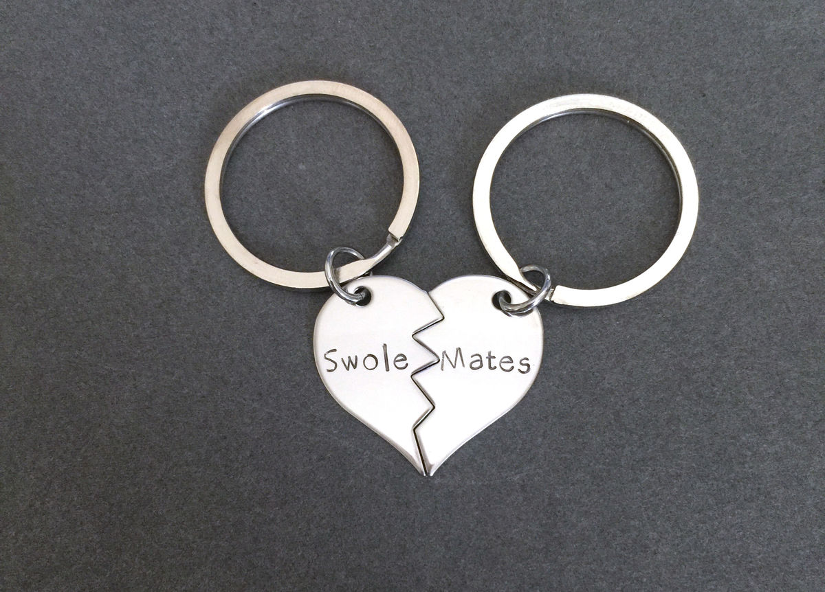 Swole Mates Broken heart keychains, couples keychains, fit couple - product image