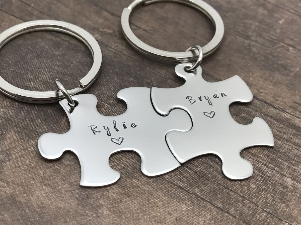 Custom Name Keychains for Couples, puzzle piece keychain set - product image