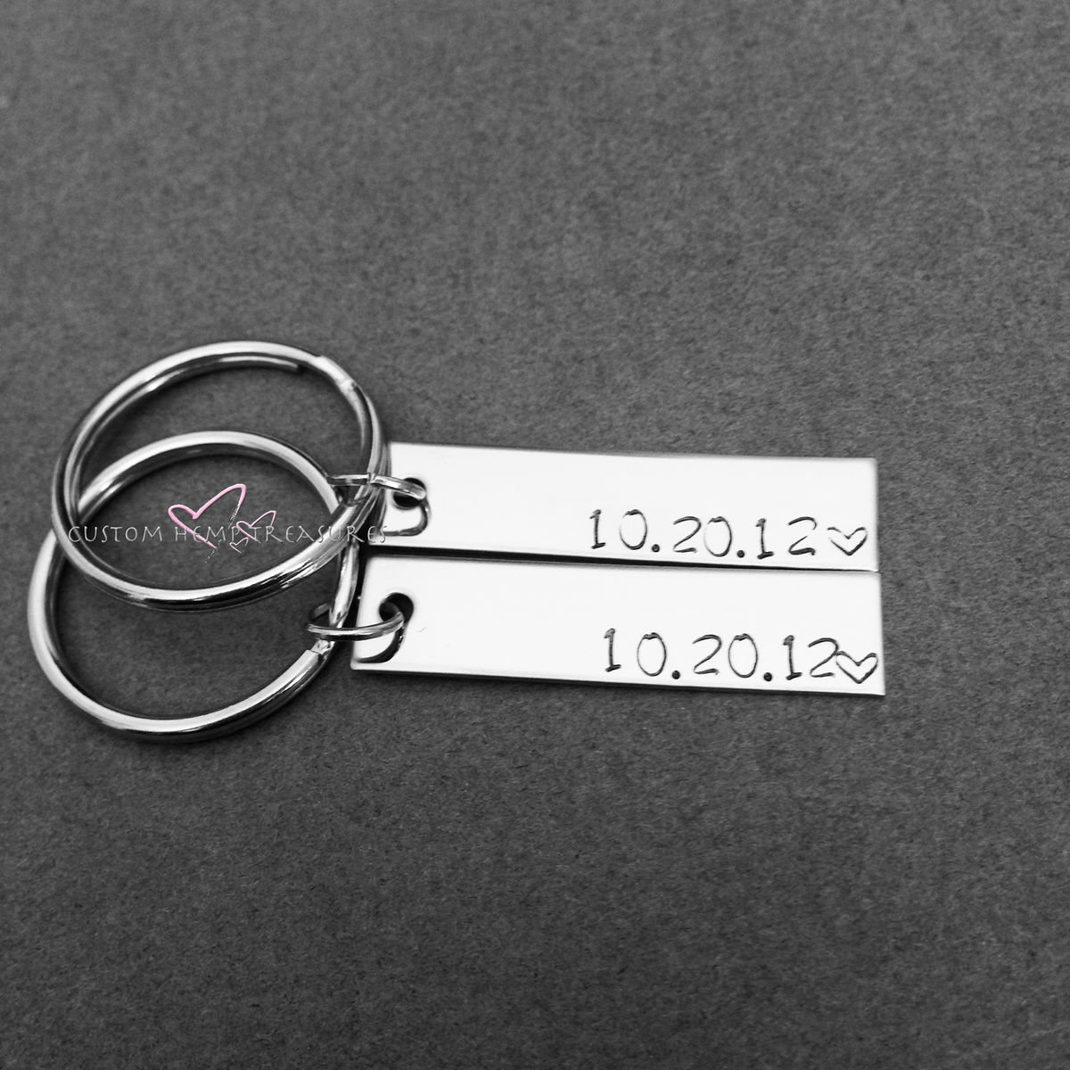 Stamped Date Bar Keychains, Couples keychains - product image