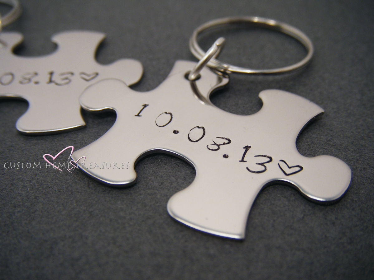 Couples Keychains with Personalized Date for Anniversaries or Weddings - product images  of