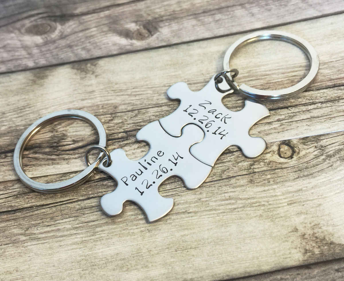 Name Date Couples Keychains, Personalized Gift, Great