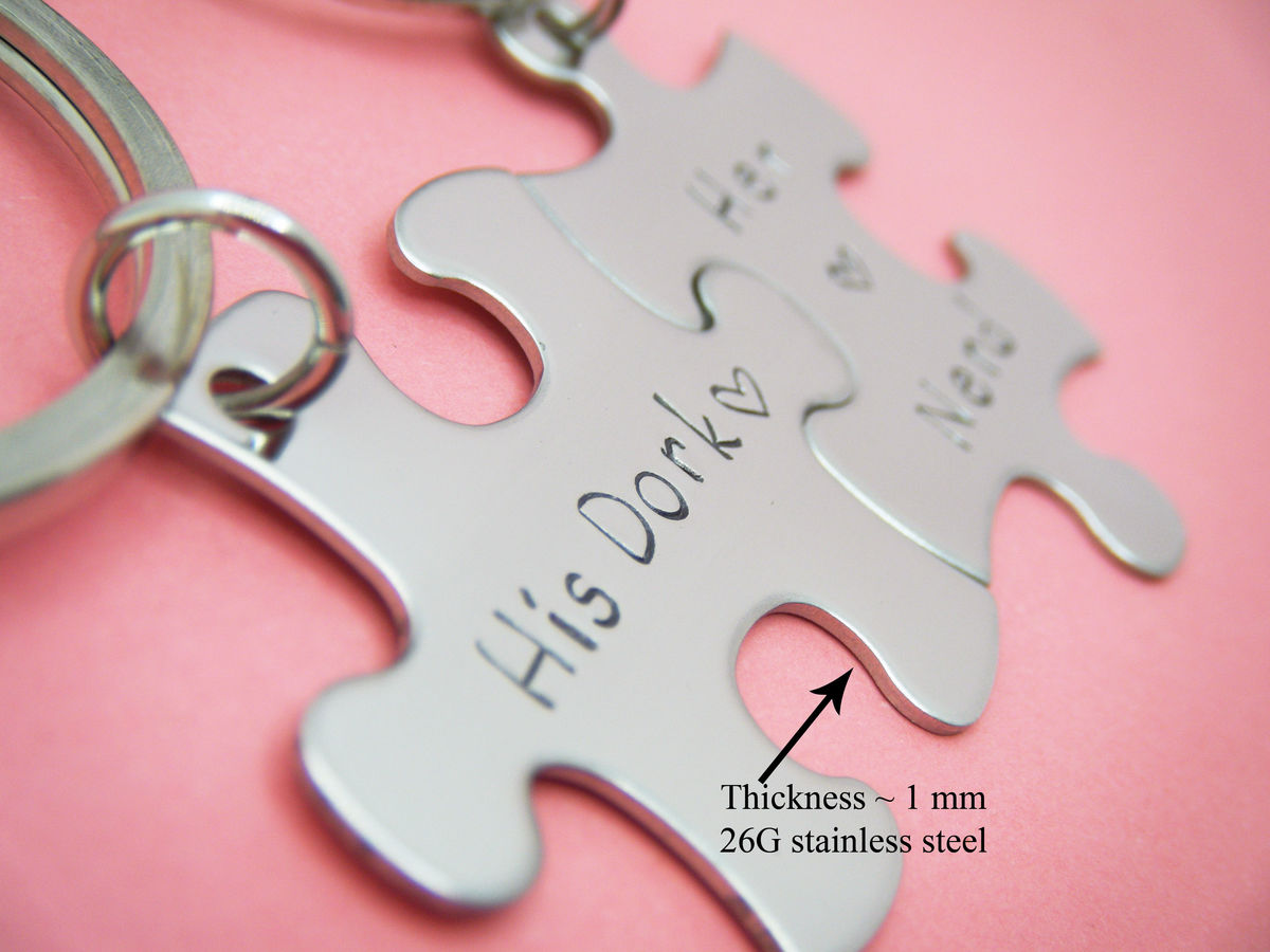 Personalized Puzzle Piece Keychains with heart charm add on, Couples Keychains - product images  of