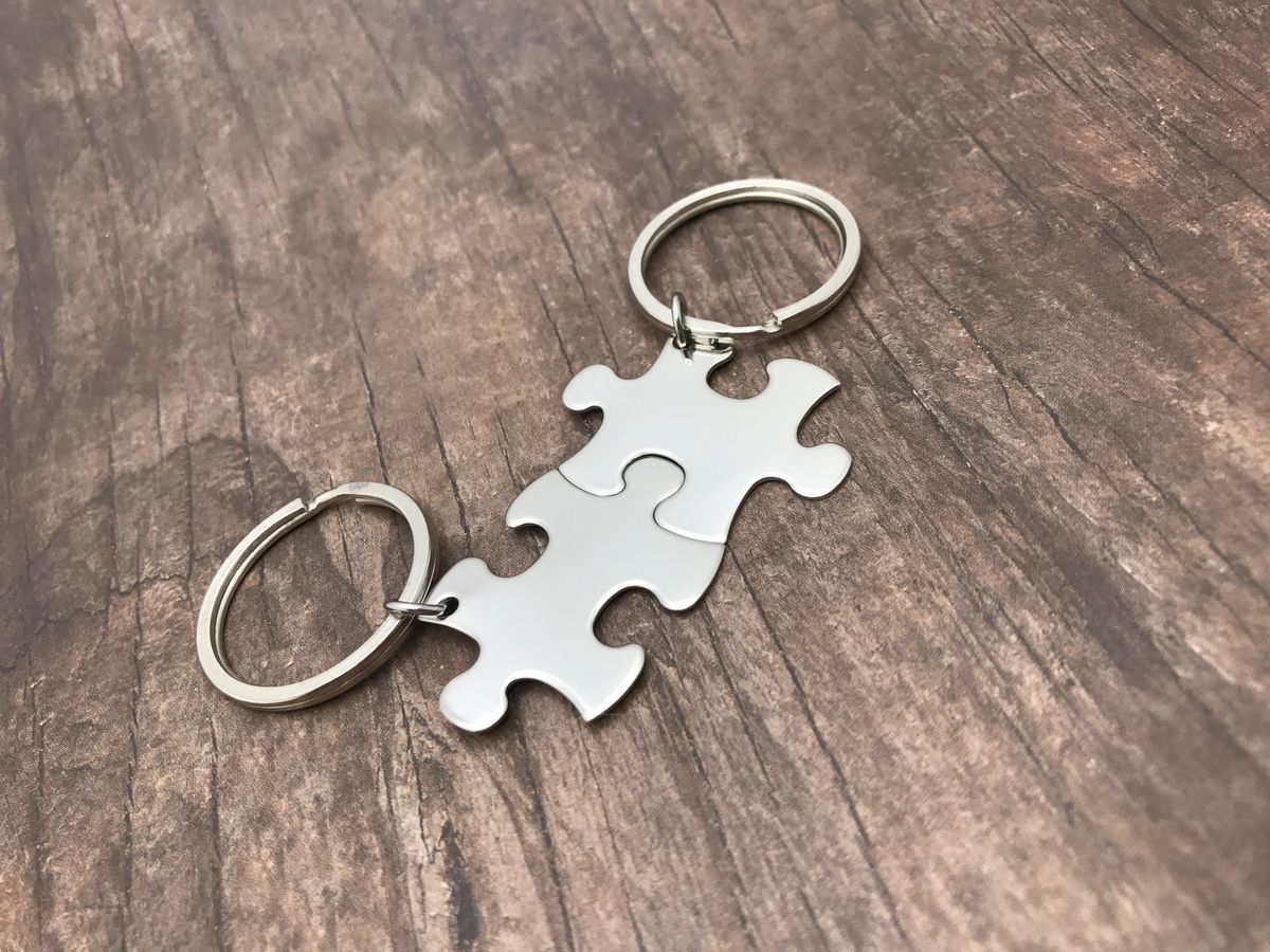 Blank Puzzle piece keychains, Couples Keychains - product images  of