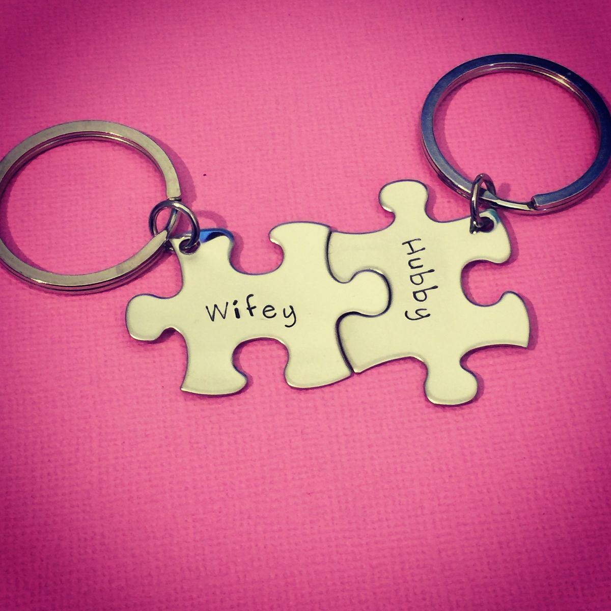 Wifey Hubby Keychains, Couples Keychains, Husband Wife Gift - product images  of