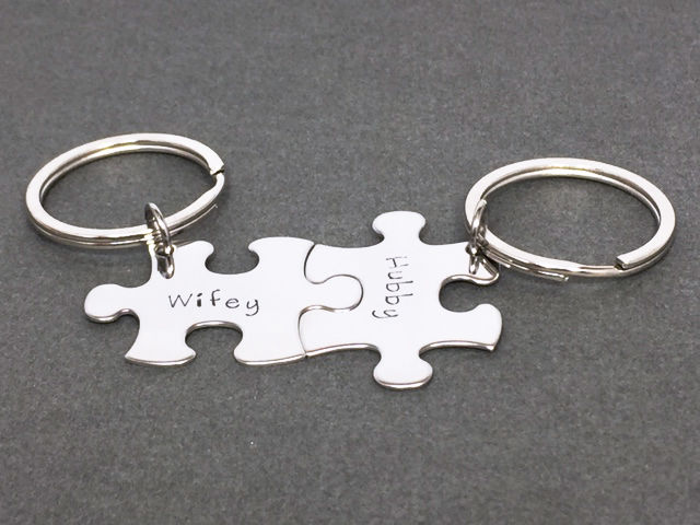 Wifey Hubby Keychains, Couples Keychains, Husband Wife Gift - product image
