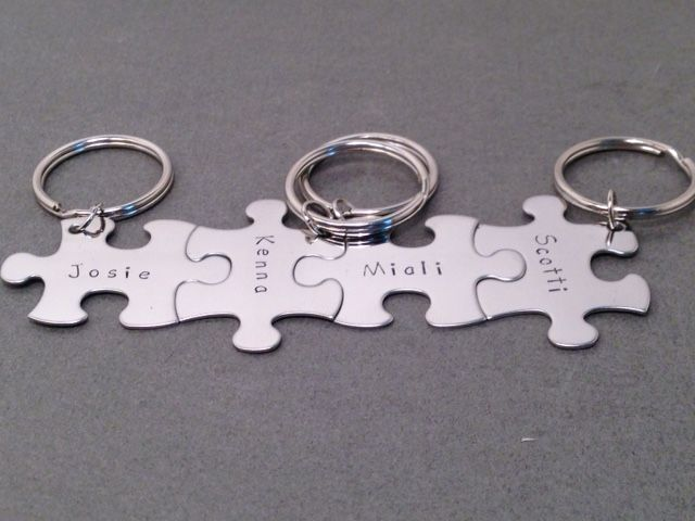 4 Puzzle Piece Keychain Set For Families or Best Friends - product images  of