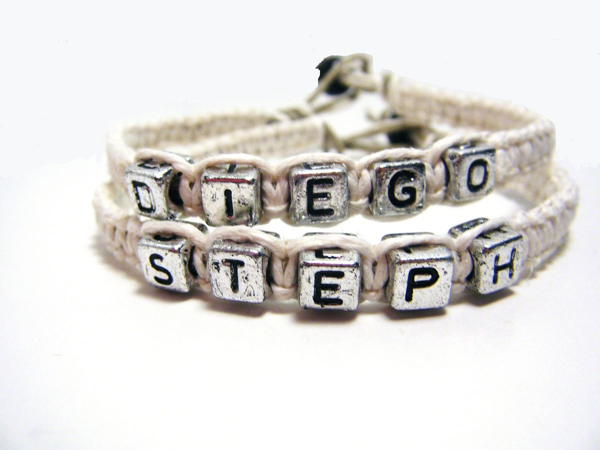 Couples Name Bracelets, Couples Gift, Pink Black Hemp Bracelets for Couples - product images  of