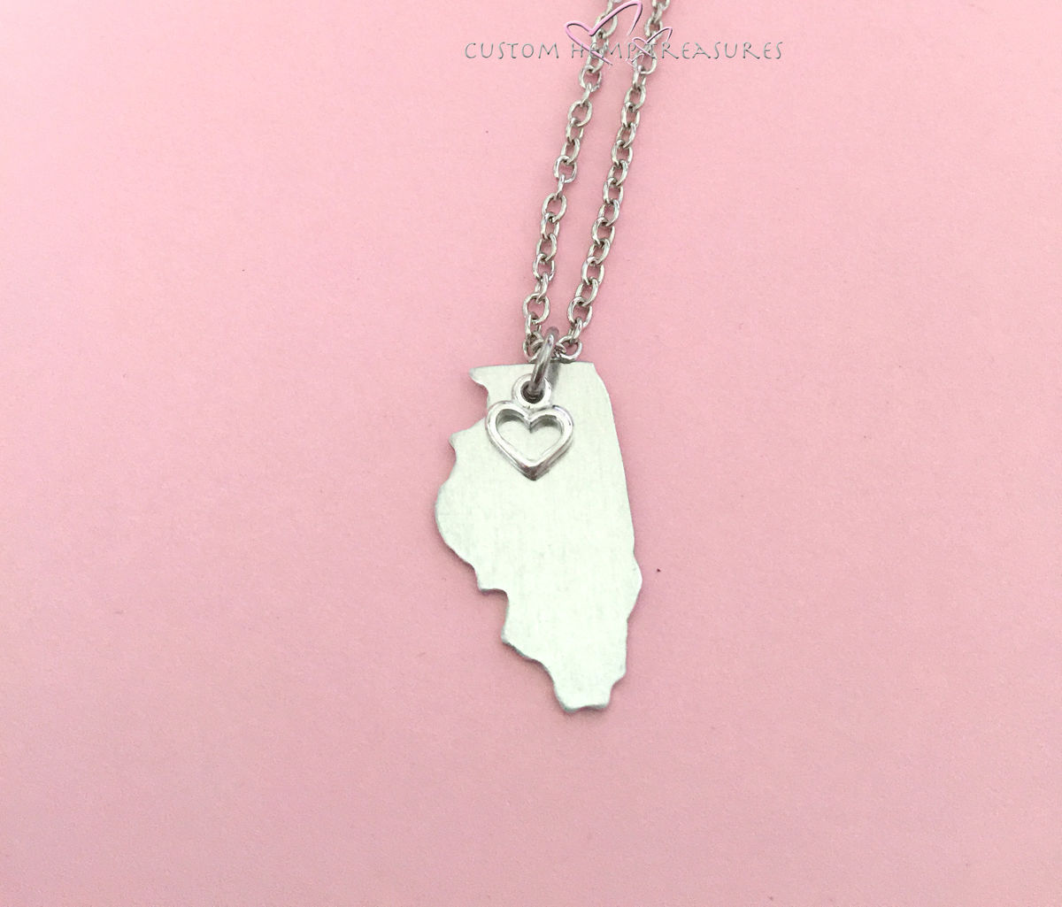 Illinois Necklace, State Necklace with Heart Charm, Aluminum necklace - product image
