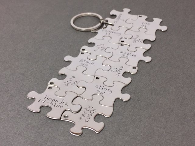 12 keychains for team or family, puzzle keychains personalized - product image