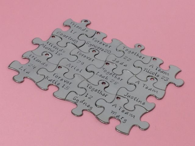 12 keychains for team or family, puzzle keychains personalized - product images  of