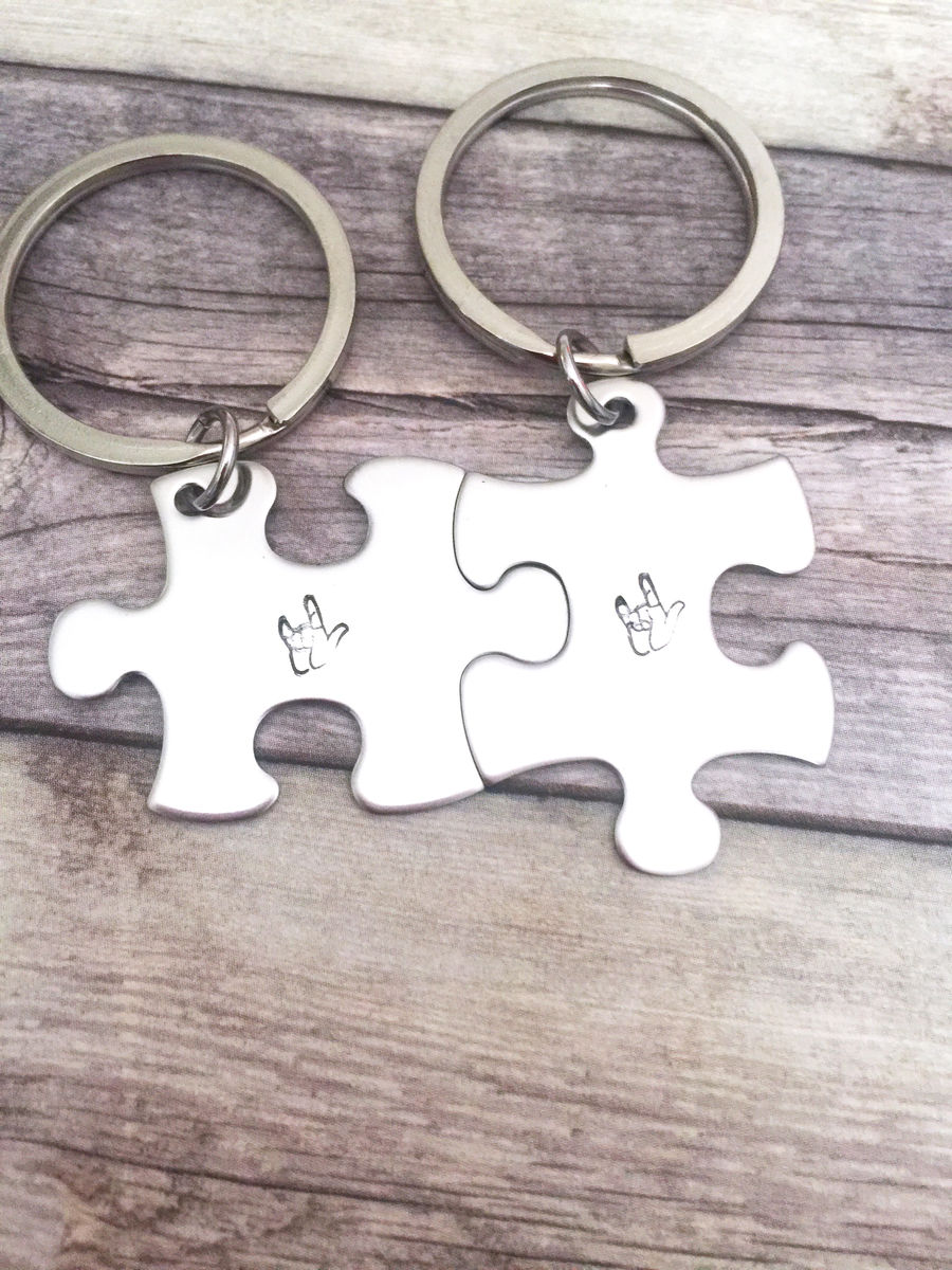 Asl keychain, I love you puzzle keychain for couples - product image
