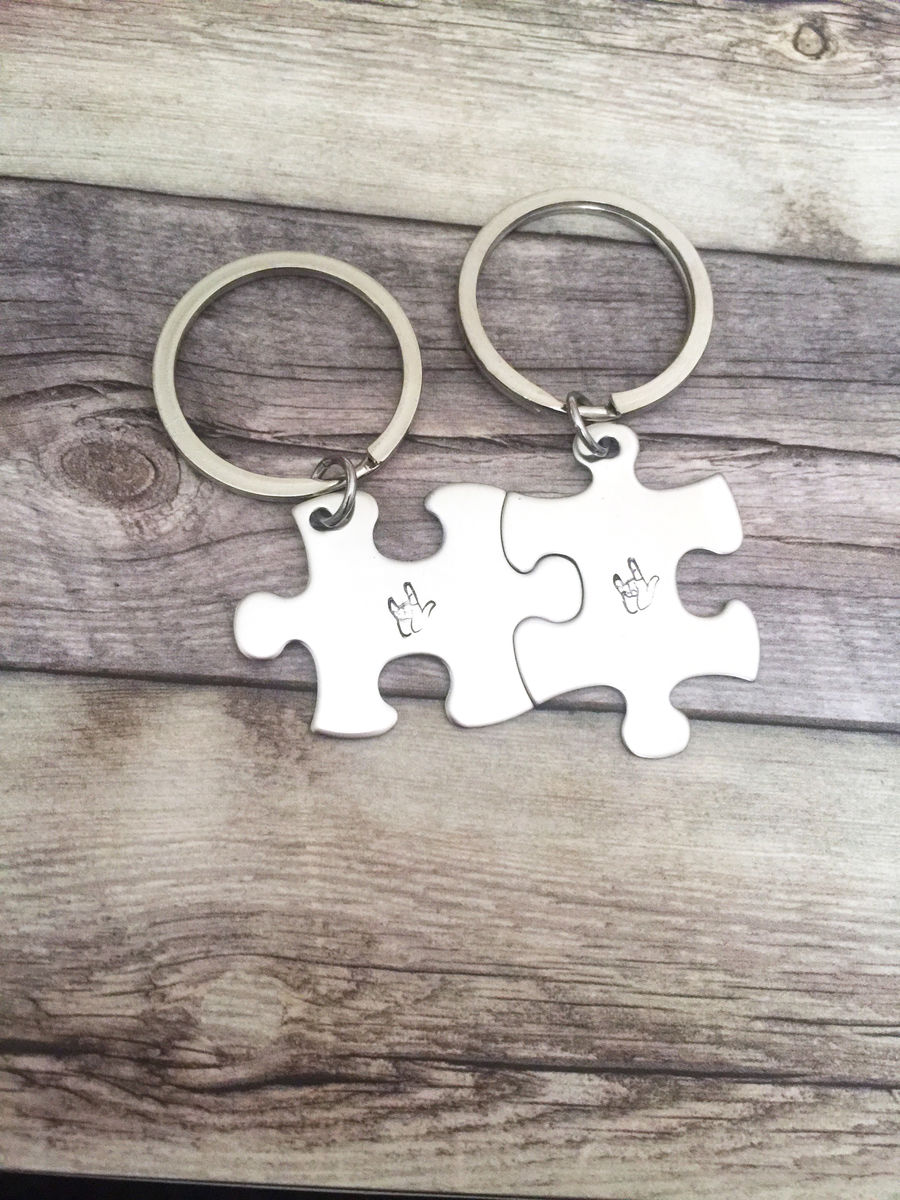 Asl keychain, I love you puzzle keychain for couples - product images  of