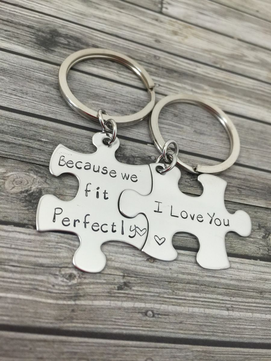 Because we fit perfectly, I love you Keychains, Couples Keychains, Perfect fit Puzzle Keychains - product images  of