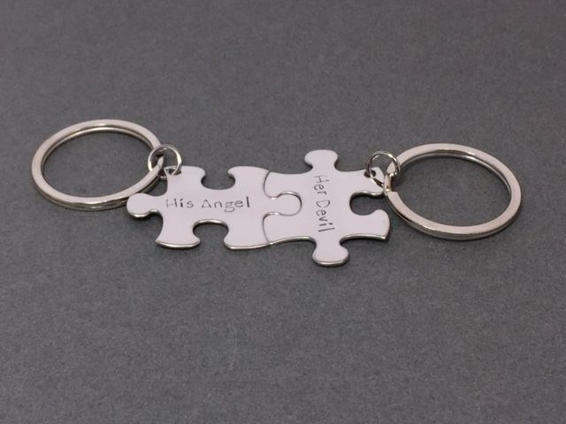 His Angel Her Devil, Couples Keychains, Fun Couples Gift - product images  of