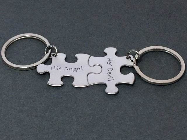 His Angel Her Devil, Couples Keychains, Fun Couples Gift - product image