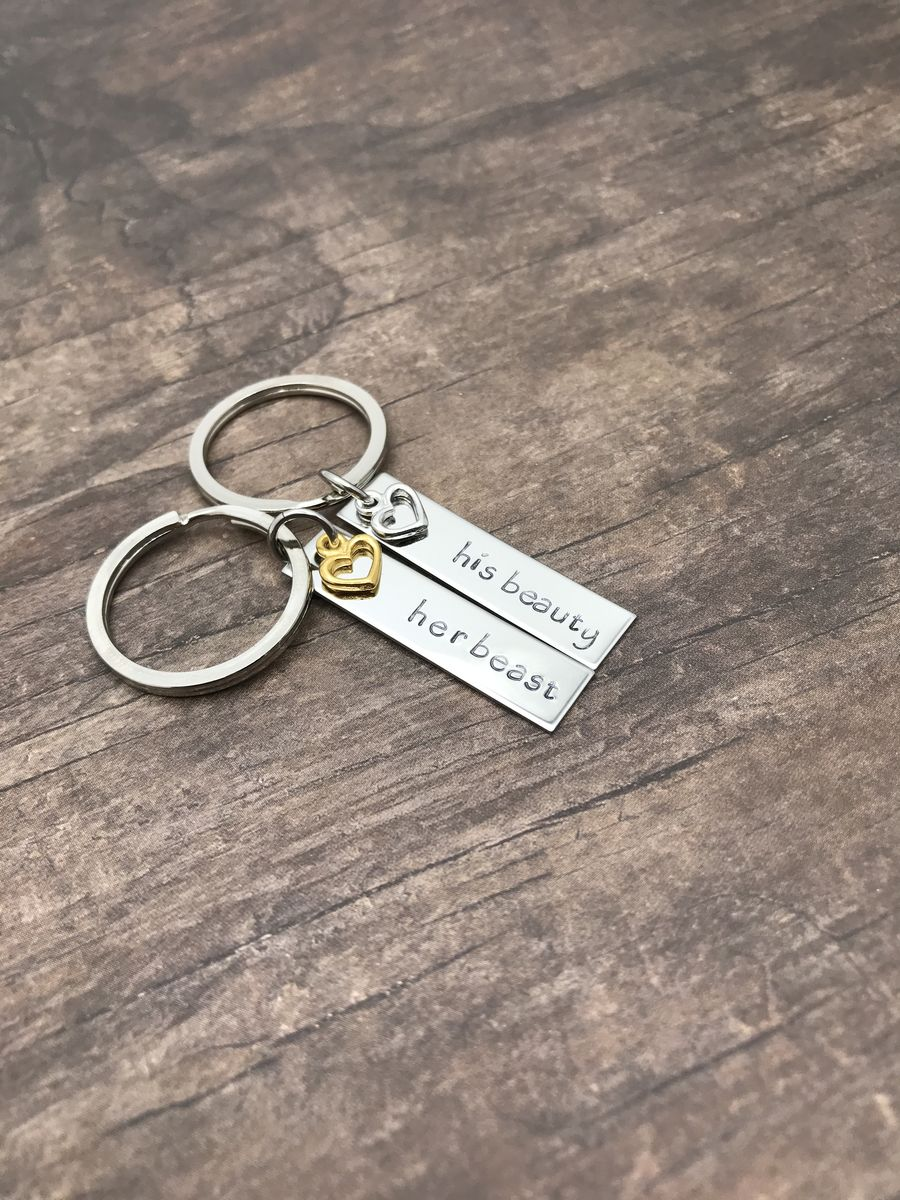 Beauty Beast Keychains with Heart Charms for couples, Couples Keychains - product images  of
