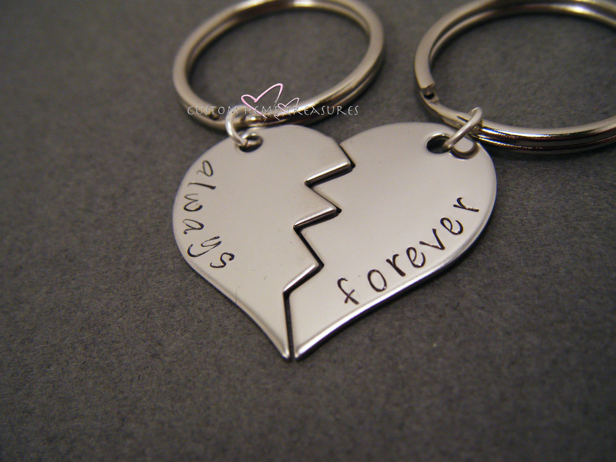 Always Forever Broken Heart Keychains, LDR Gift, Wedding Gift Idea - product image