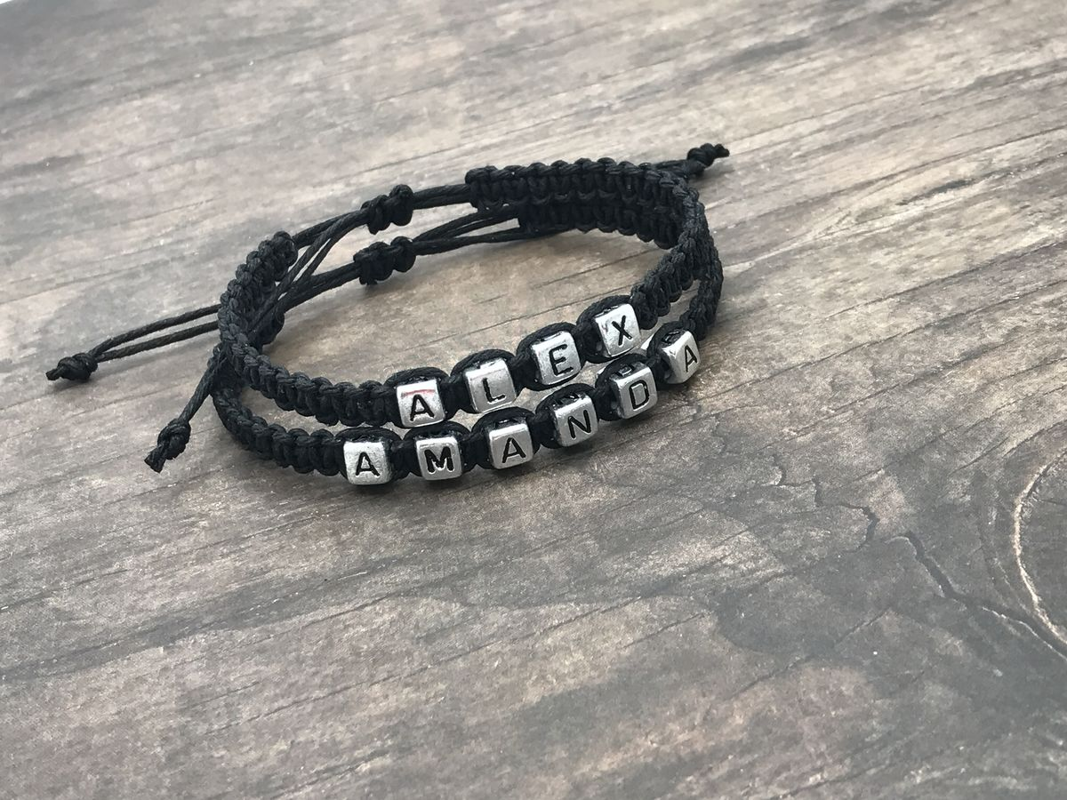 Adjustable hemp couples bracelets with custom names and black hemp - product images  of