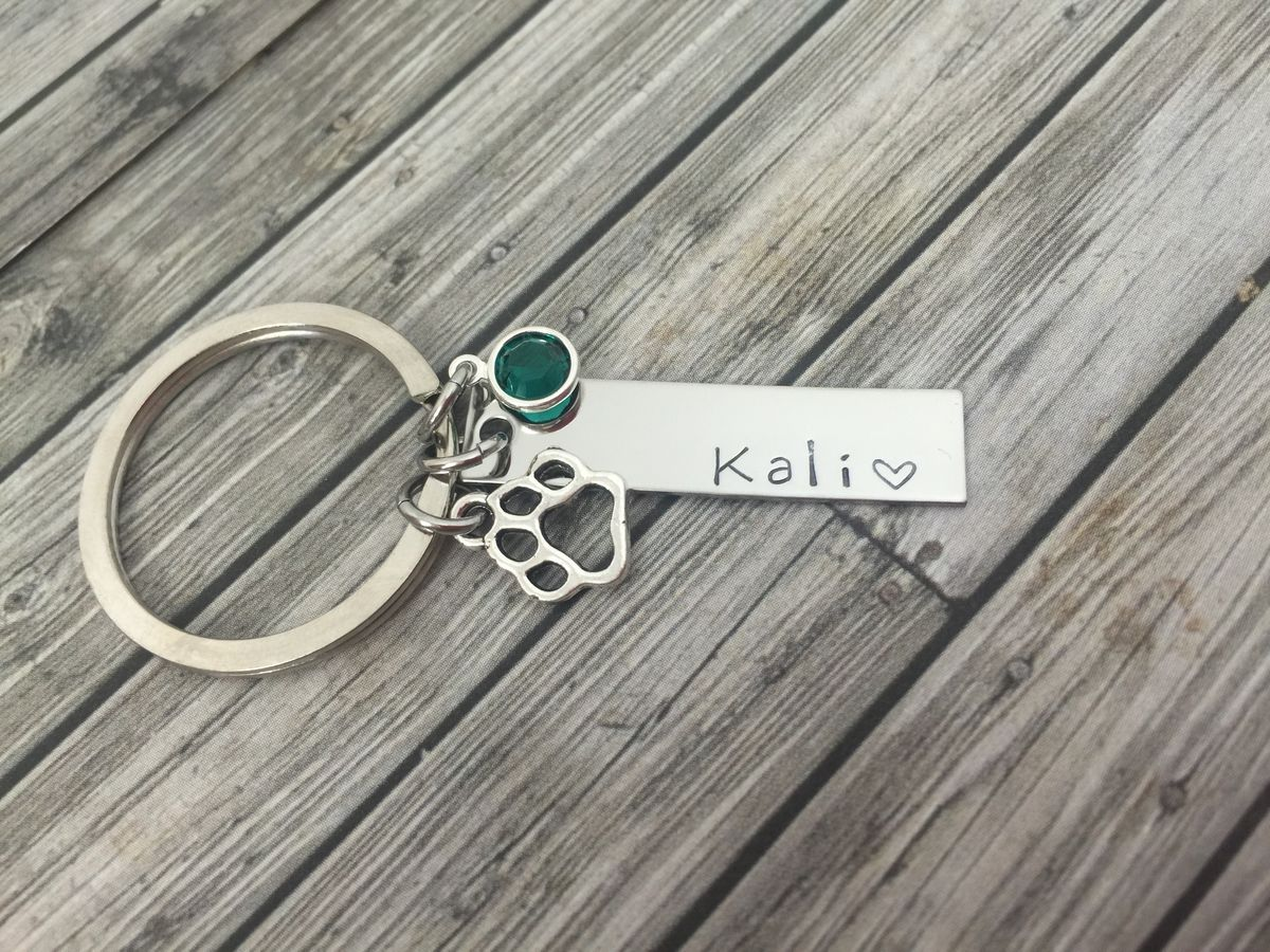 Name Keychain with birthstone charm and paw print charm, custom bar keychain for girlfriend - product images  of