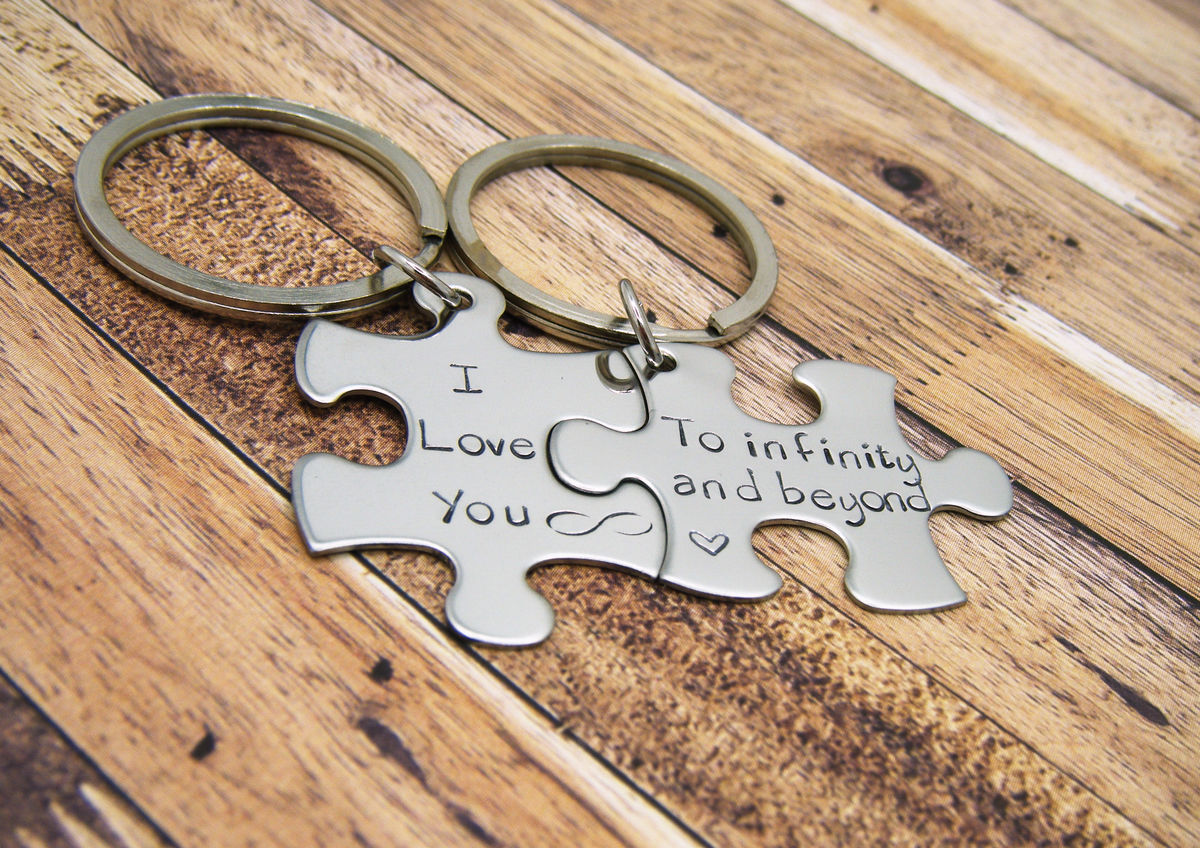 I love you to infinity and beyond, puzzle piece keychain set for couples - product image