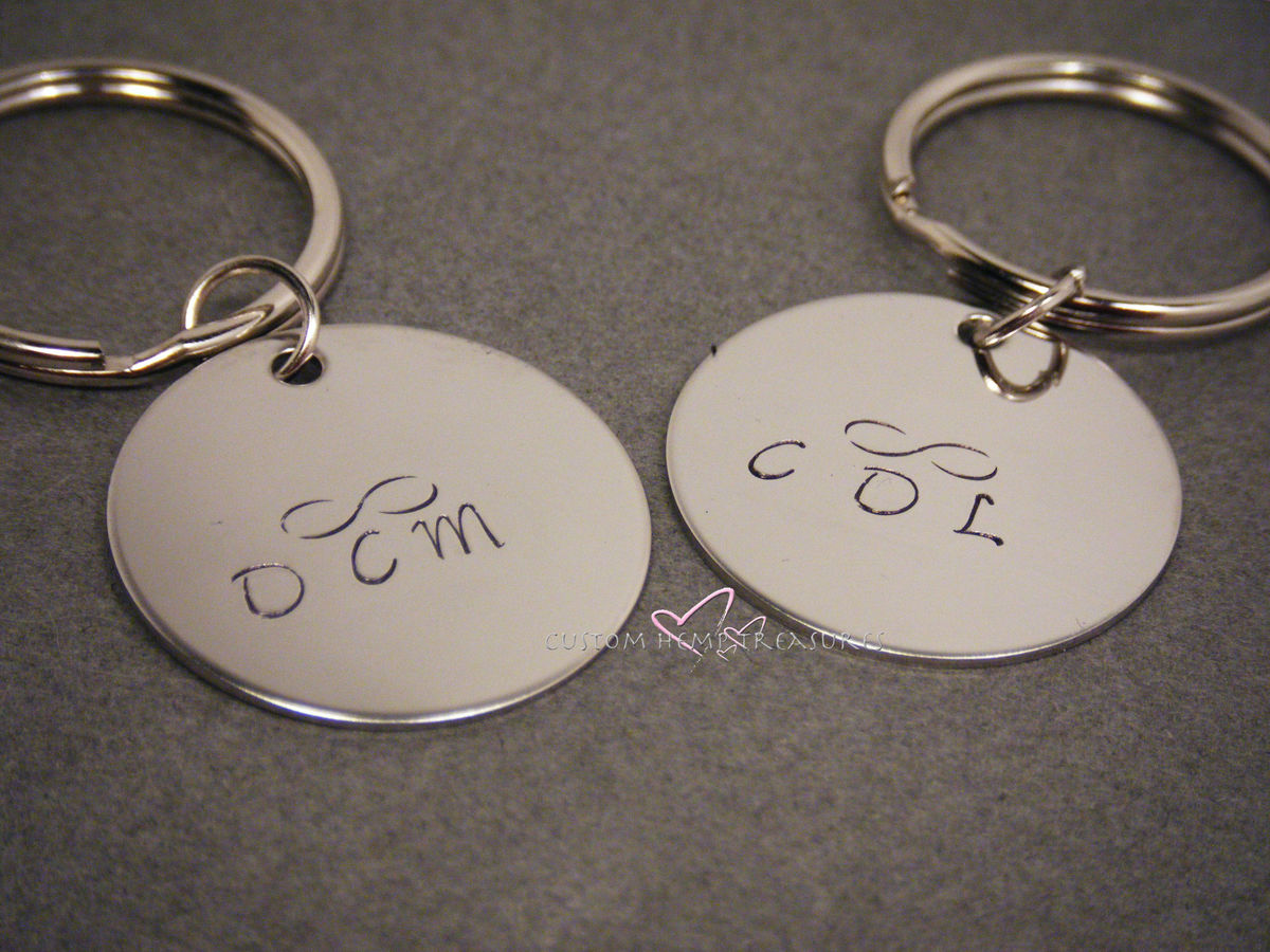 Circle Keychains with initials and infinity symbol, couples keychains, infinity gift - product image