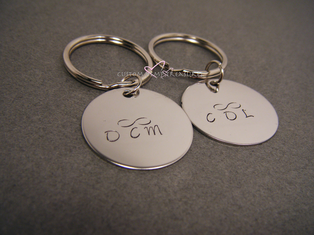 Circle Keychains with initials and infinity symbol, couples keychains, infinity gift - product images  of