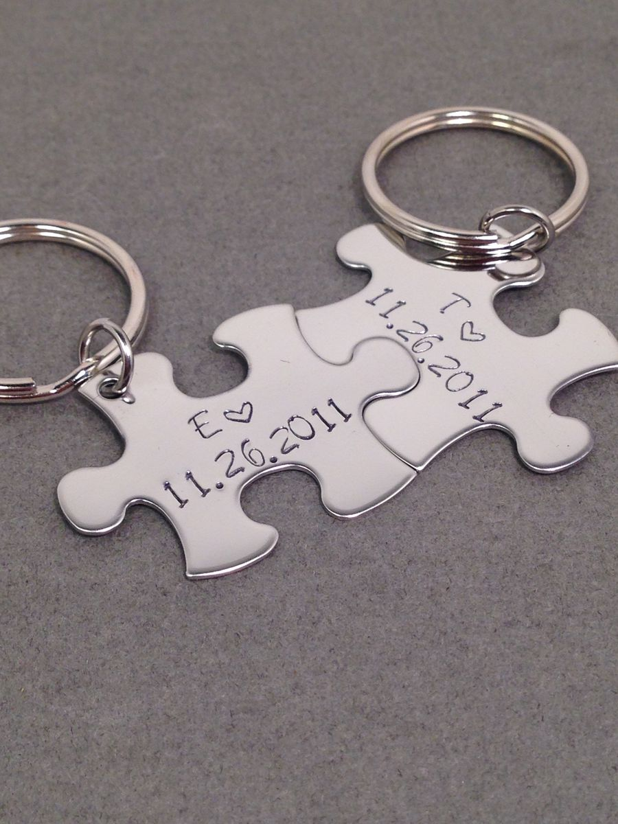 Date Keychains with initial and heart puzzle keychains, anniversary gift - product images  of