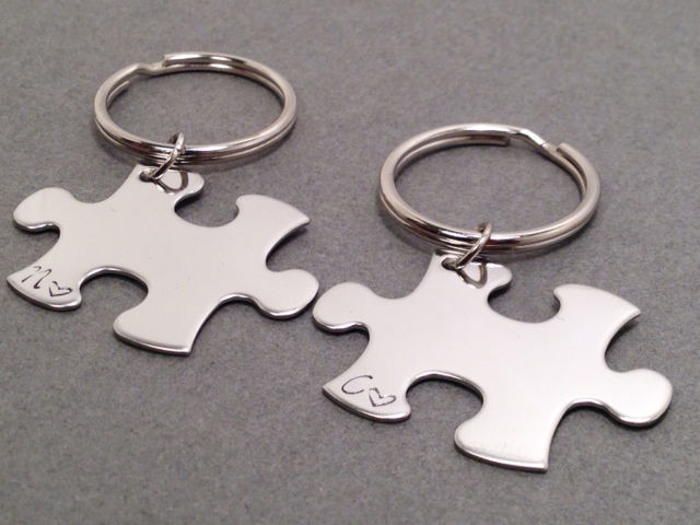 Personalized Initial keychains with initials in the corner of each puzzle piece. - product images  of