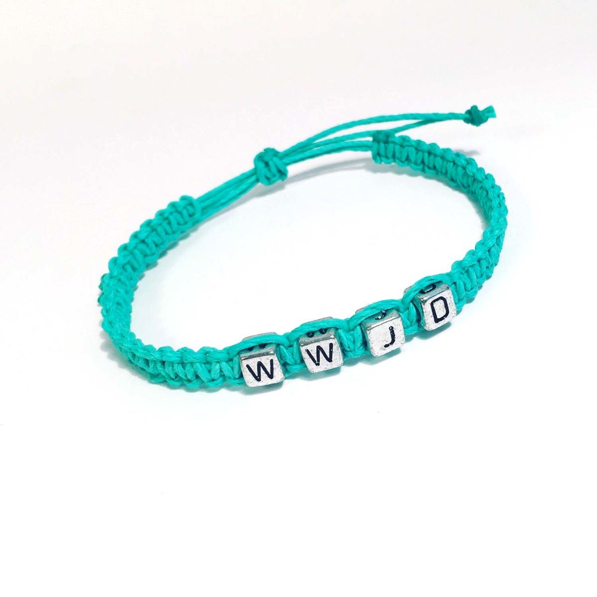 WWJD Hemp Bracelet, Adjustable mint bracelet, Single Hemp Bracelet - product images  of