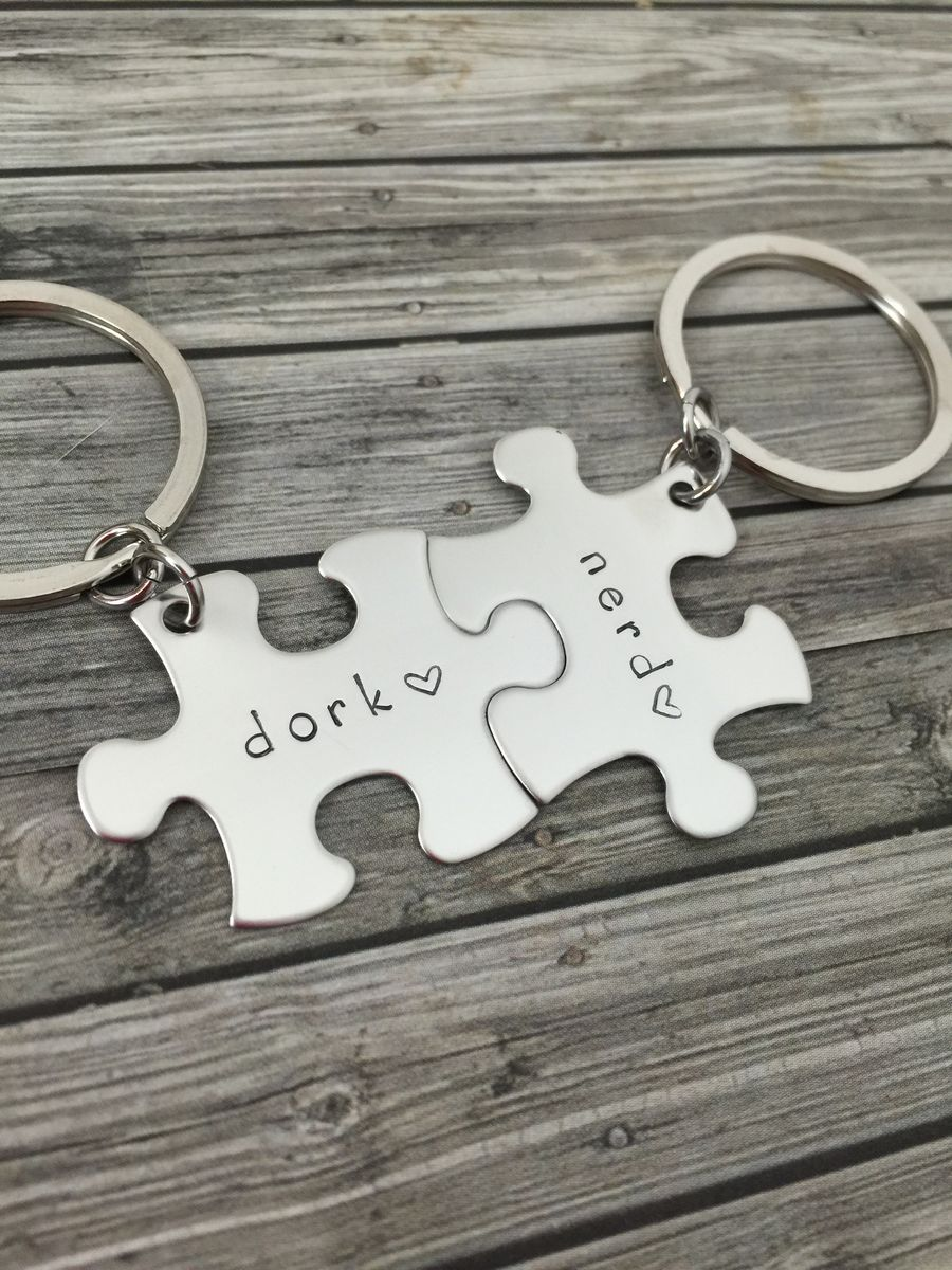 Dork Nerd Keychains for couples with engraved heart - product images  of
