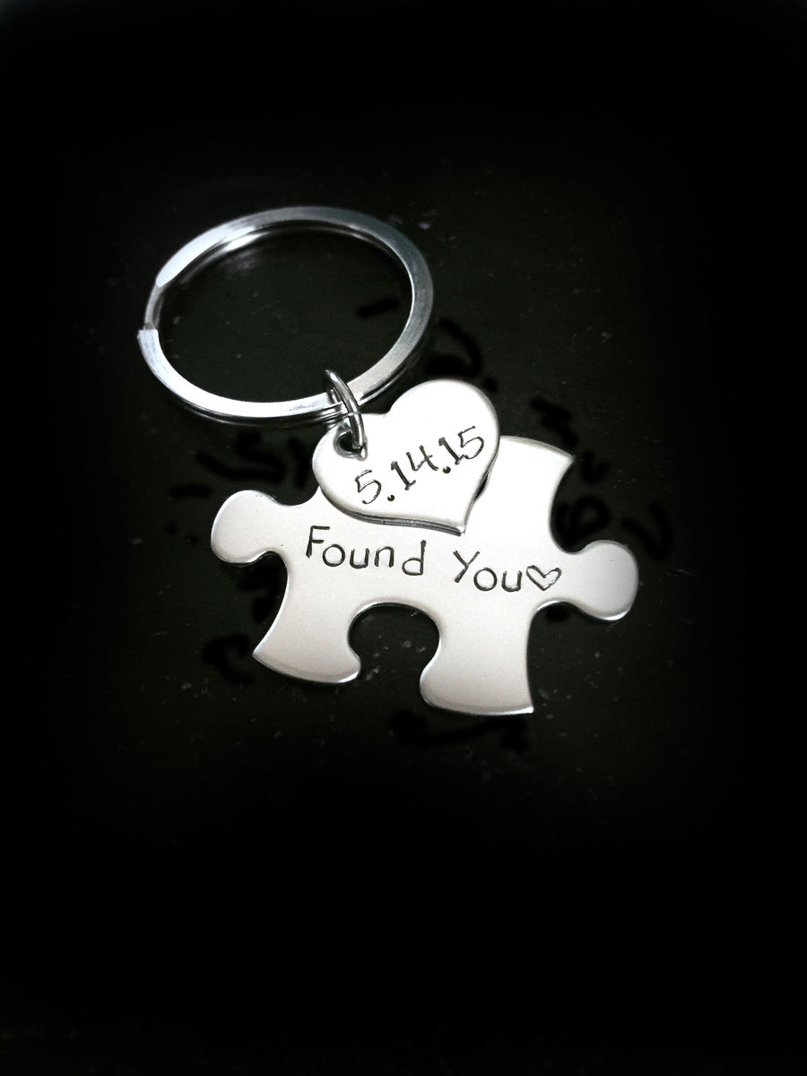 Found you puzzle heart keychain, boyfriend gift, stainless steel keychain - product image