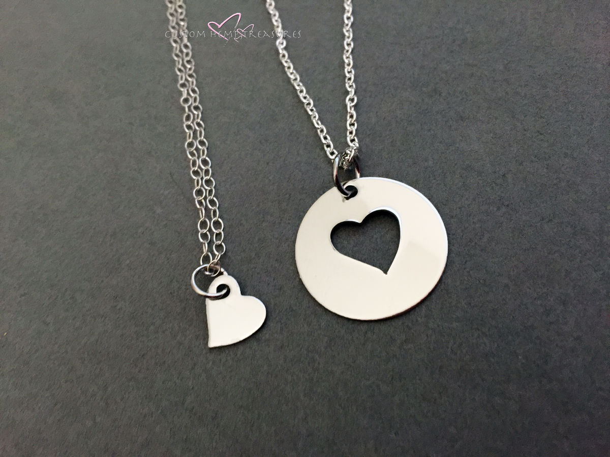 Mother Daughter Necklace, Heart Cut out circle necklace, small heart necklace, Double Necklace set for mother day gift - product images  of