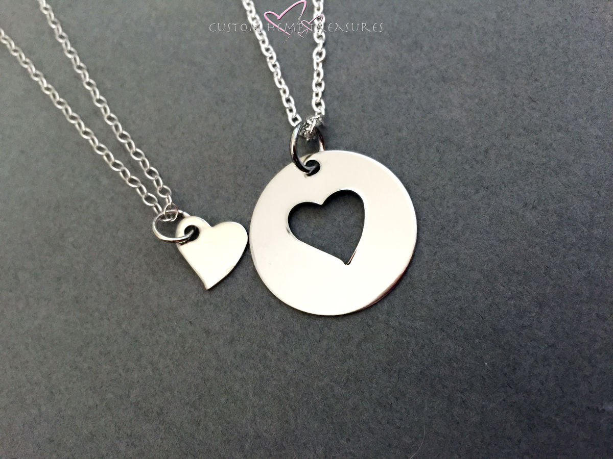 Mother Daughter Necklace, Heart Cut out circle necklace, small heart necklace, Double Necklace set for mother day gift - product image