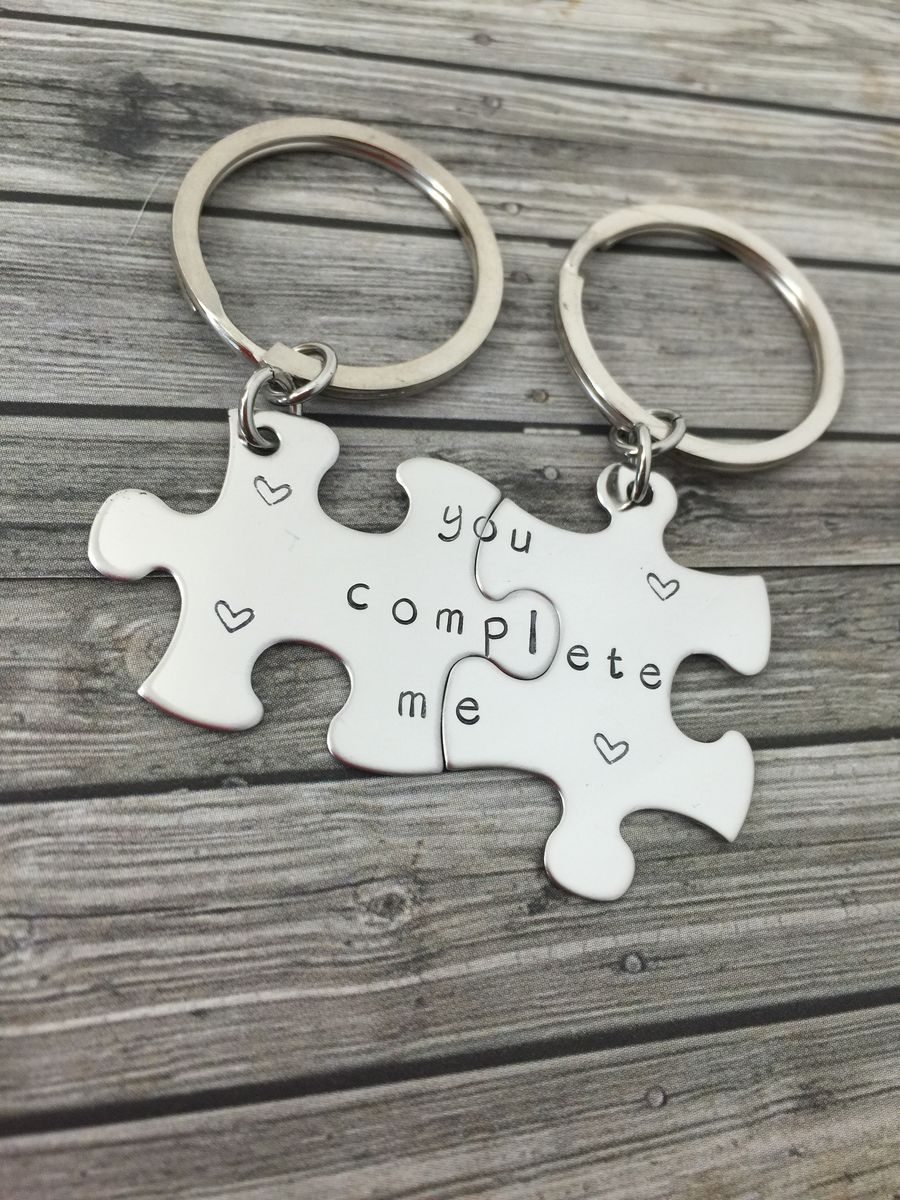 You Complete Me Couples Puzzle Keychains, Boyfriend Girlfriend Gift - product images  of